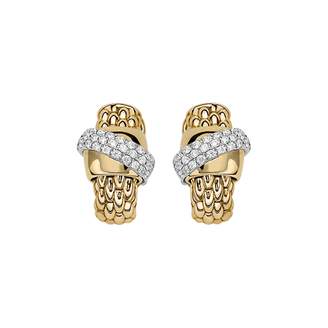 Fope 18ct Yellow & White Gold Flex'it Vendome Earrings