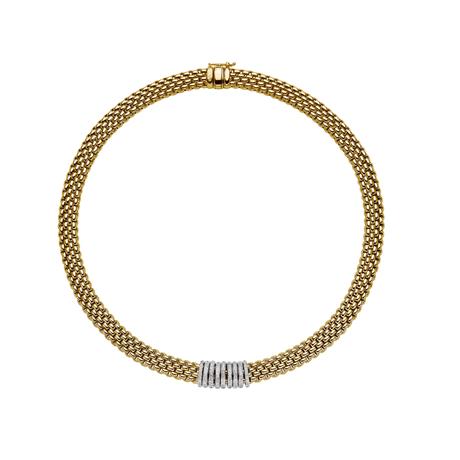 Fope 18ct Yellow & White Gold Panorama Pave Necklace