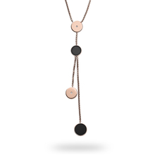 Skagen Ellen Rose Gold Tone and Onyx Lariat Necklace