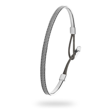 Skagen Anette Steel & Black Leather Bracelet