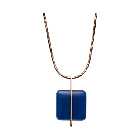 Skagen Blue Sea Glass Rose-Gold-Tone Necklace