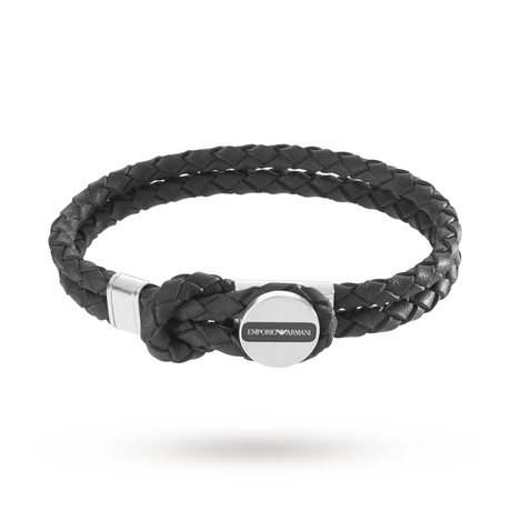 For Him - Emporio Armani Mens Signature Black Leather Bracelet EGS2178040 - EGS2178040