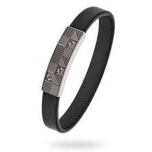 Emporio Armani Black Leather Mens Geometric Bracelet