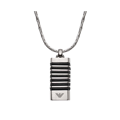 Emporio Armani Leather & Stainless Steel Necklace