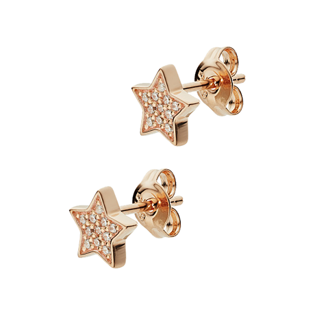 Emporio Armani Rose Gold Tone Cubic Zirconia Star Stud Earrings
