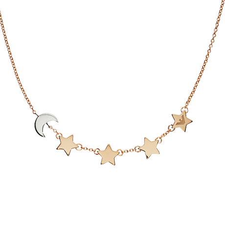 Emporio Armani Rose Gold Plated Stars And Moon Necklace