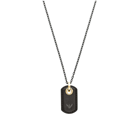 Emporio Armani Black Leather Dog Tag Necklace