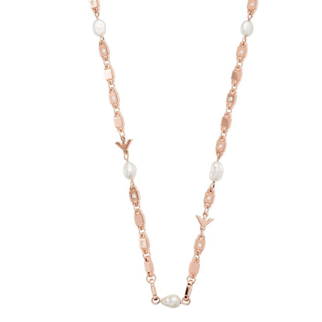 Emporio Armani Rose Gold Coloured Logo Link Necklace