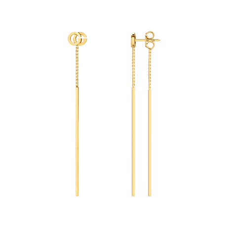 Gucci Running G Drop Earrings in 18ct Yellow Gold