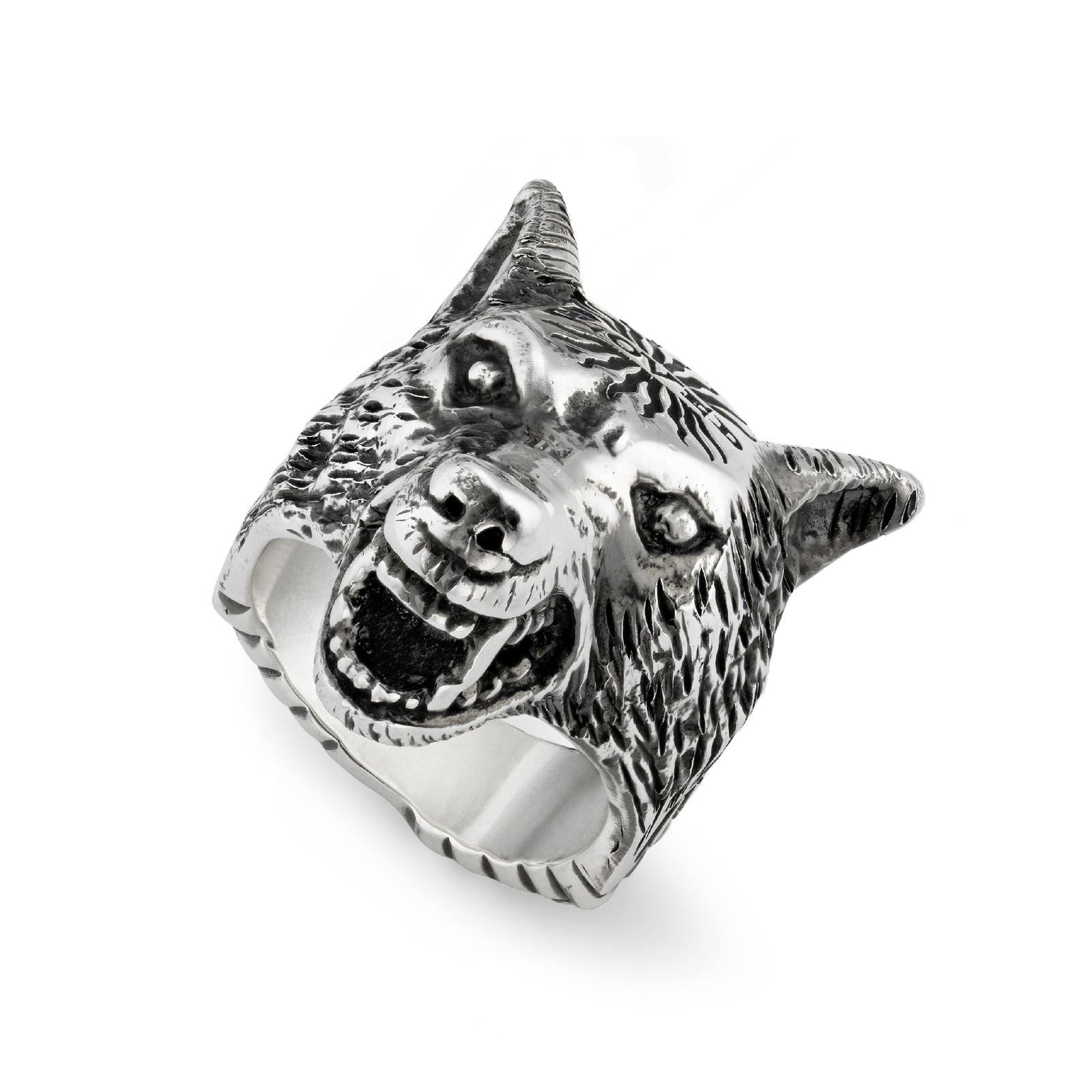 Gucci Anger Forest Wolf Head Ring in Silver - Ring Size Q