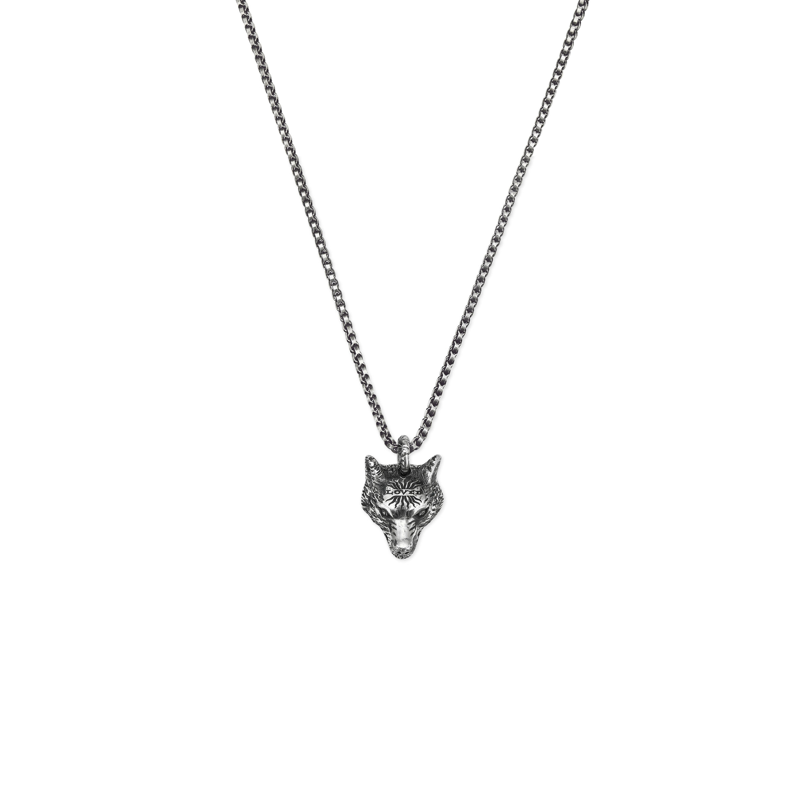 Gucci Anger Forest Wolf Head Dark Finish Silver Necklace