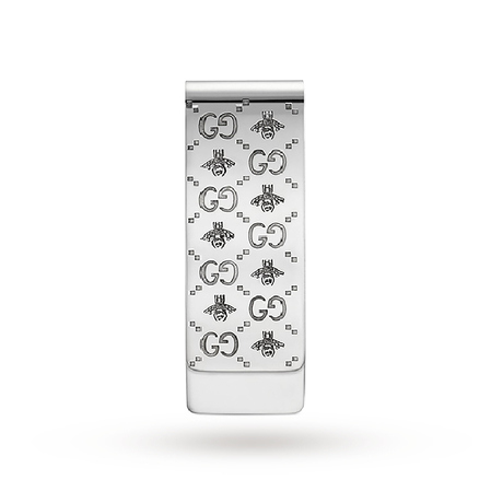 Gucci Running G & Bee Money Clip in Silver