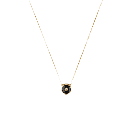 Gucci 18ct Yellow Gold Onyx & Diamond Feline Necklace