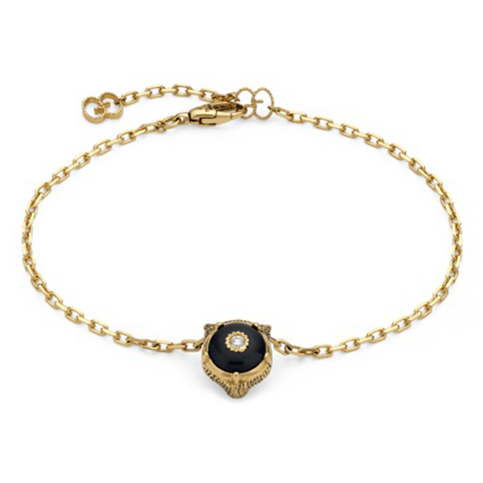 Gucci 18ct Yellow Gold Onyx & Diamond Feline Bracelet