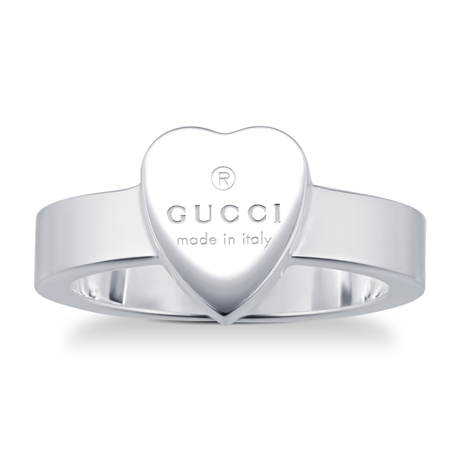 Gucci Trademark Silver Heart Ring