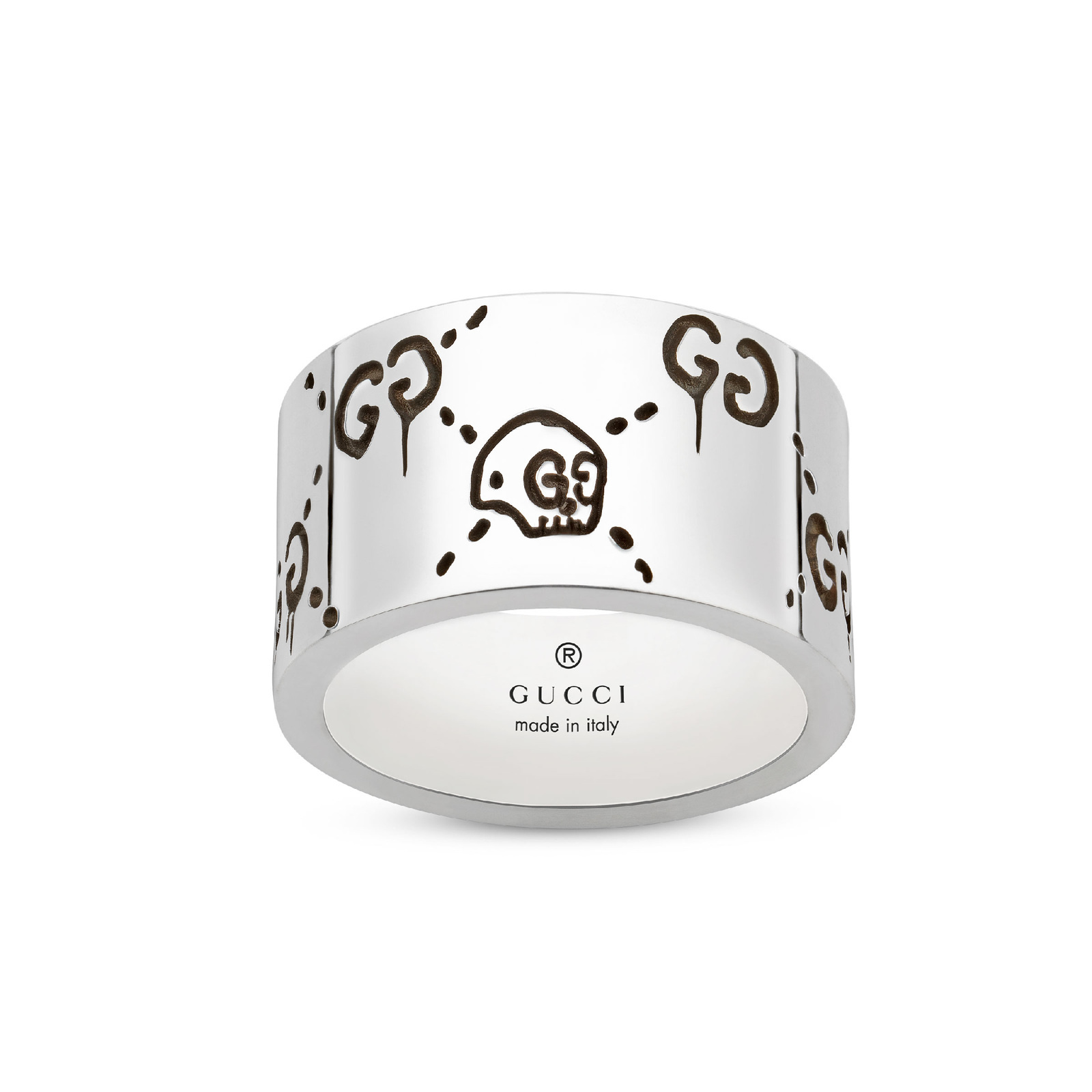 GucciGhost 12mm Ring in Silver - Ring Size K
