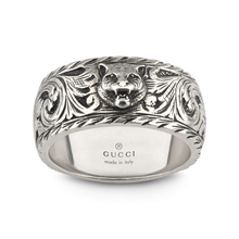 Gucci Gatto Thin Silver 10mm Ring with Feline Head