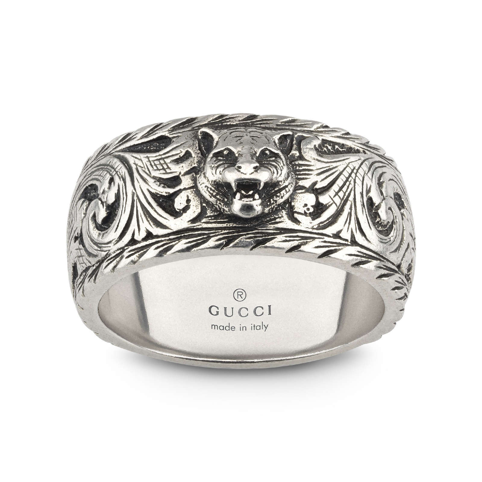 Gucci Gatto Thin Silver 10mm Ring with Feline Head - Ring Size J