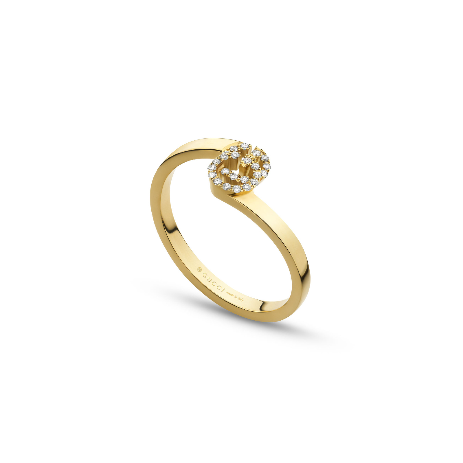 Gucci Running G Ring in 18ct Yellow Gold with Diamonds - Ring Size J thumbnail