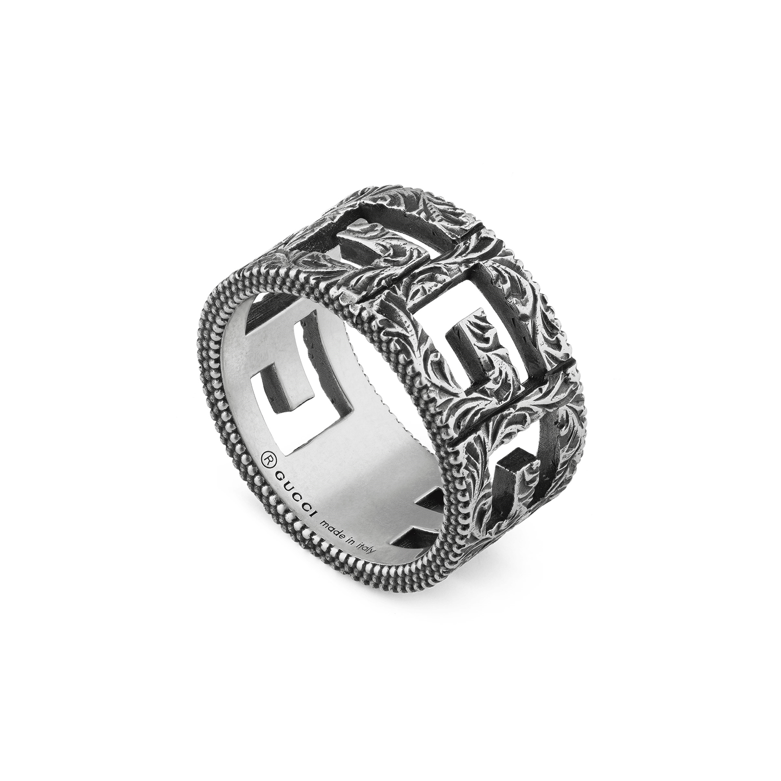 Gucci Ring with Square G Motif in Silver - Ring Size O