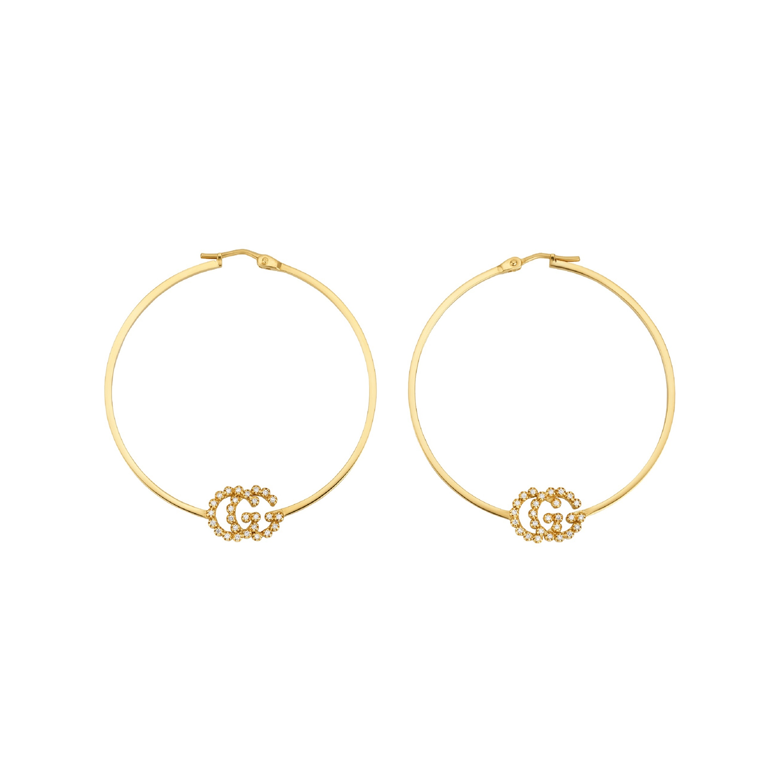 Gucci 18ct Yellow Gold Running G Hoop Earrings