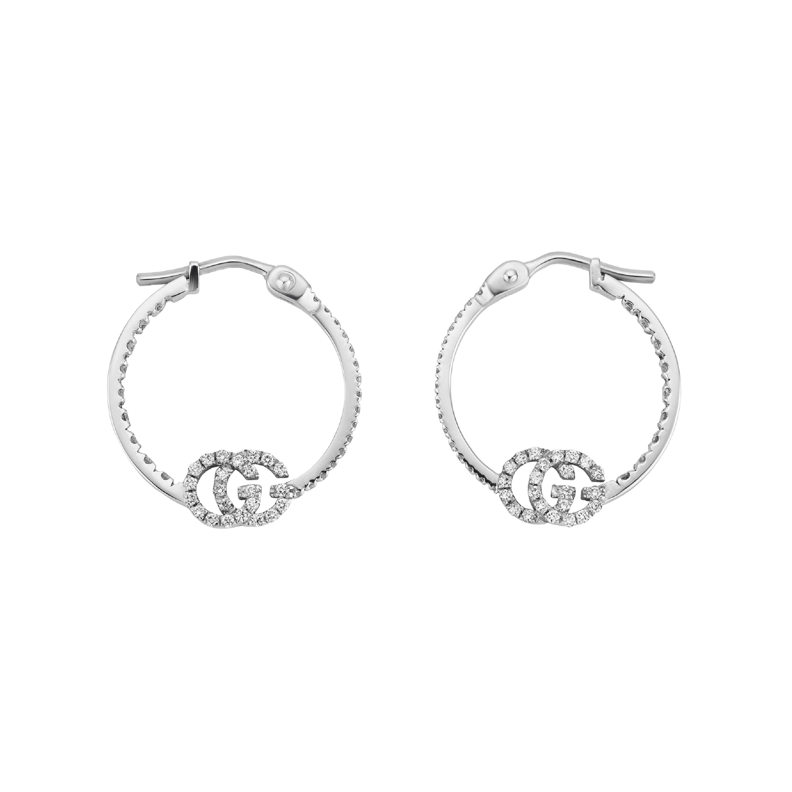 Gucci 18ct White Gold Running G Hoop Earrings