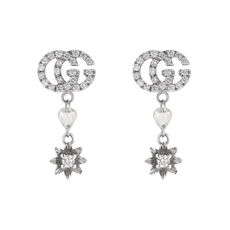 Gucci 18ct White Gold Flower and Double G Diamond Drop Earrings