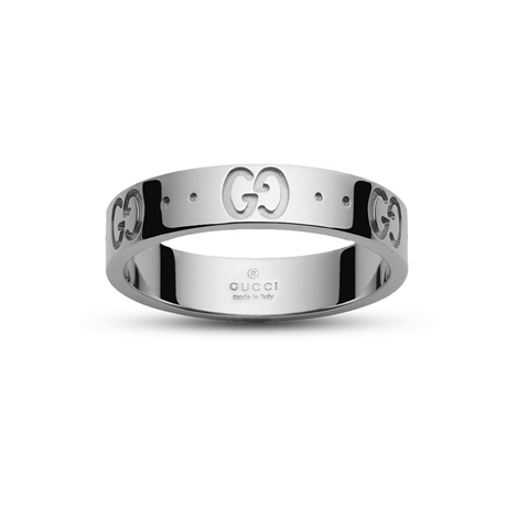 Gucci Icon 18ct White Gold Logo Band Ring