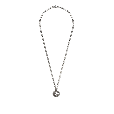 Gucci Interlocking G Aged Silver Necklace
