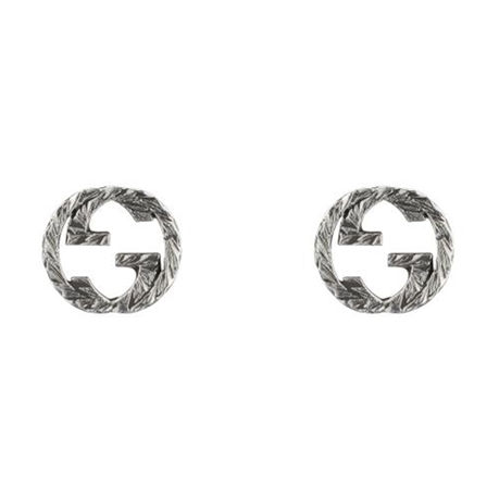 Gucci Silver Interlocking G Blackened Stud Earrings