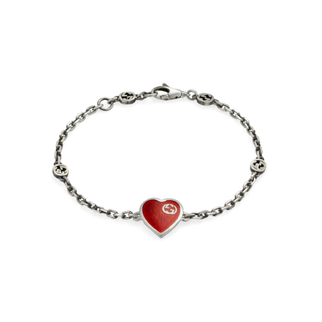 Exclusive Gucci Heart Aged Finish Sterling Silver & Red Enamel Bracelet
