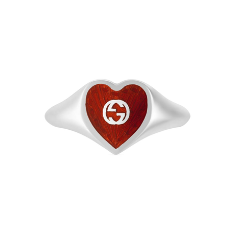 Exclusive Gucci Heart 925 Sterling Silver and Red Enamel Signet Ring