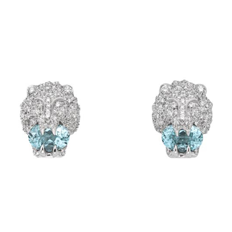 Gucci 18ct White Gold Lionhead 0.75ct Earrings