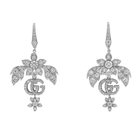 Gucci 18ct White Gold Flora 2.47ct Earrings