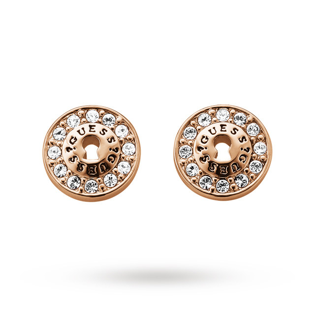 Image of  			   			  			   			  Guess Alloy All Locked Up Stud Earrings