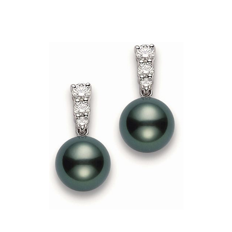 Mikimoto Black South Sea Collection Tahitian Pearl & Diamond Stud Earrings