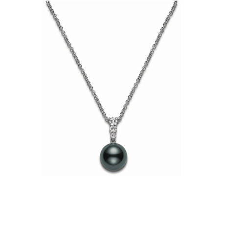 Mikimoto Black South Sea Pearl and Diamond Pendant