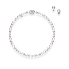 Exclusive Mikimoto Akoya Pearl Necklace and Stud Earrings Set