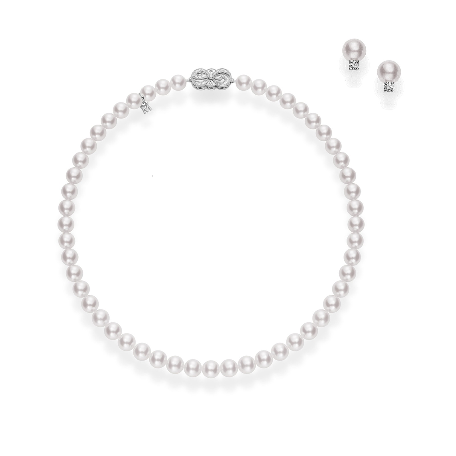 Exclusive Mikimoto Akoya Pearl Necklace and Stud Earrings ...