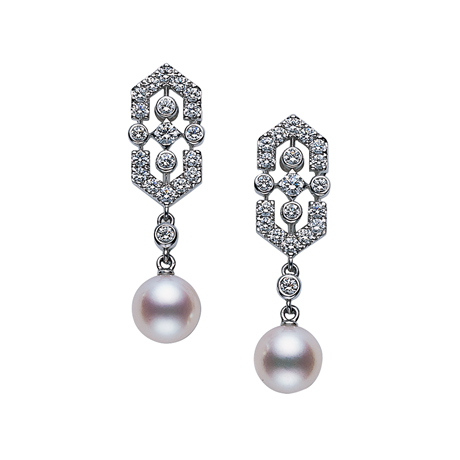 Mikimoto Deco Akoya Pearl Earrings