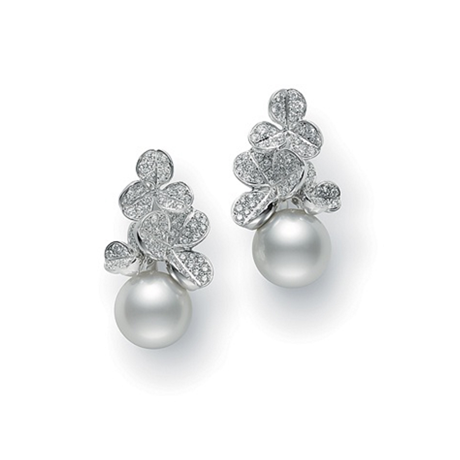 Mikimoto Fortune Leaves Collection White South Sea Pearl & Diamond Earrings