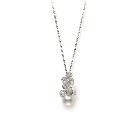Mikimoto Fortune Leaves Collection White South Sea Pearl & Diamond Pendant