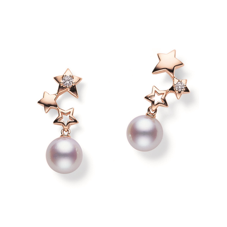 Mikimoto Starry Sky Collection Akoya Pearl & Diamond Stud Earrings