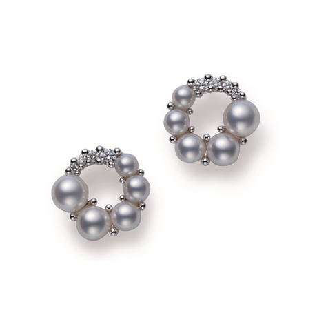 Mikimoto Wonderland Collection Akoya Pearl & Diamond Earrings