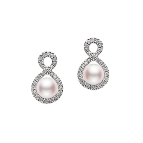 Mikimoto Ruyi Collection Akoya Pearl & Diamond Earrings