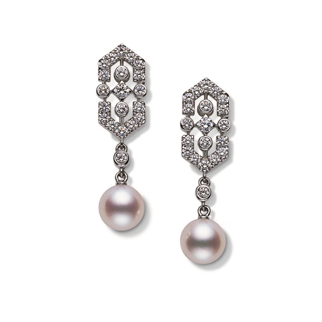 Mikimoto Deco Collection Akoya Pearl & Diamond Earrings