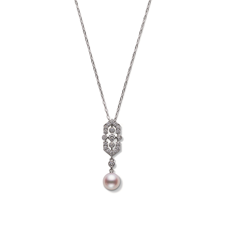 Mikimoto Deco Collection Akoya Pearl & Diamond Pendant
