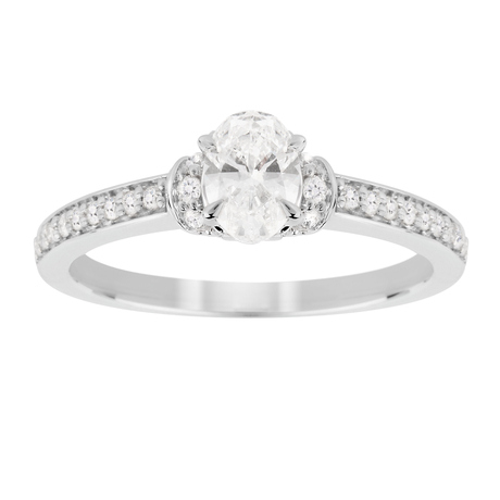 Jenny Packham Oval Cut 0.45 Carat Total Weight Diamond Art Deco Style Ring in 18 Carat White Gold