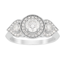 Jenny Packham Three Stone Brilliant Cut 0.95 Carat Total Weight Diamond Art Deco Style Ring in 18 Carat White Gold