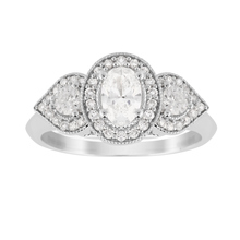 Jenny Packham Three Stone Oval Cut 0.95 Carat Total Weight Diamond Art Deco Style Ring in 18 Carat White Gold